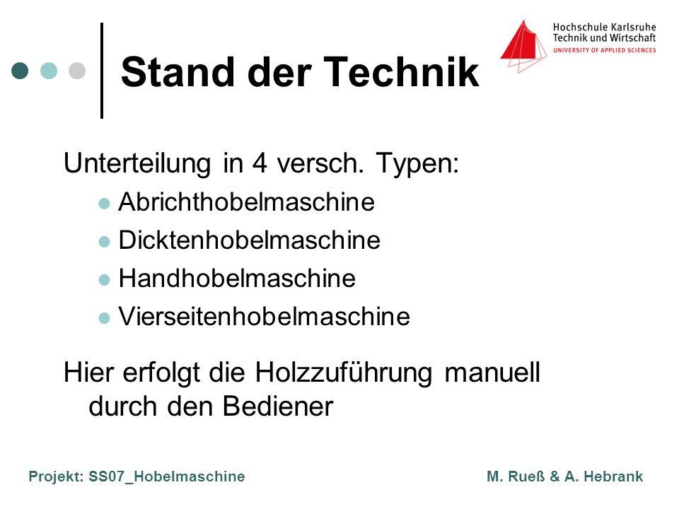 Projekt: SS07_Hobelmaschine M. Rueß & A. Hebrank Stand der Technik Unterteilung in 4 versch. Typen: Abrichthobelmaschine Dicktenhobelmaschine Handhobe