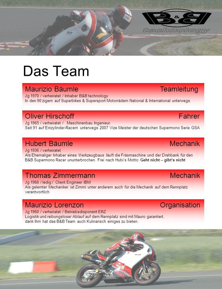 Das Team Maurizio Bäumle Teamleitung Jg 1970 / verheiratet / Inhaber B&B technology In den 90zigern auf Superbikes & Supersport Motorrädern National &