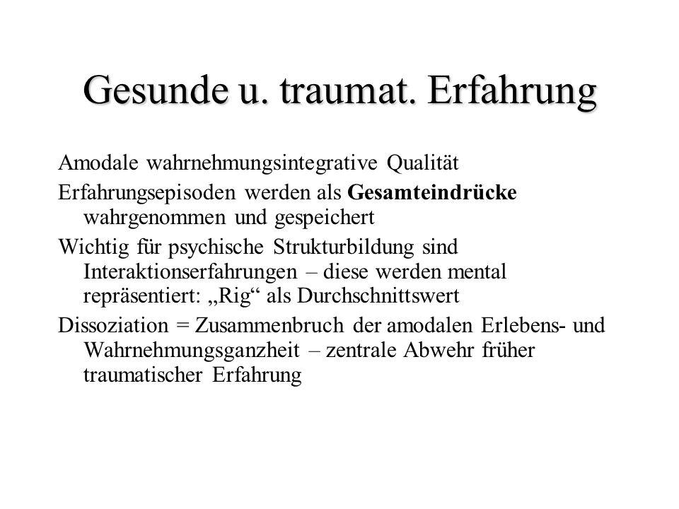 Gesunde u. traumat. Erfahrung Amodale wahrnehmungsintegrative Qualität Erfahrungsepisoden werden als Gesamteindrücke wahrgenommen und gespeichert Wich