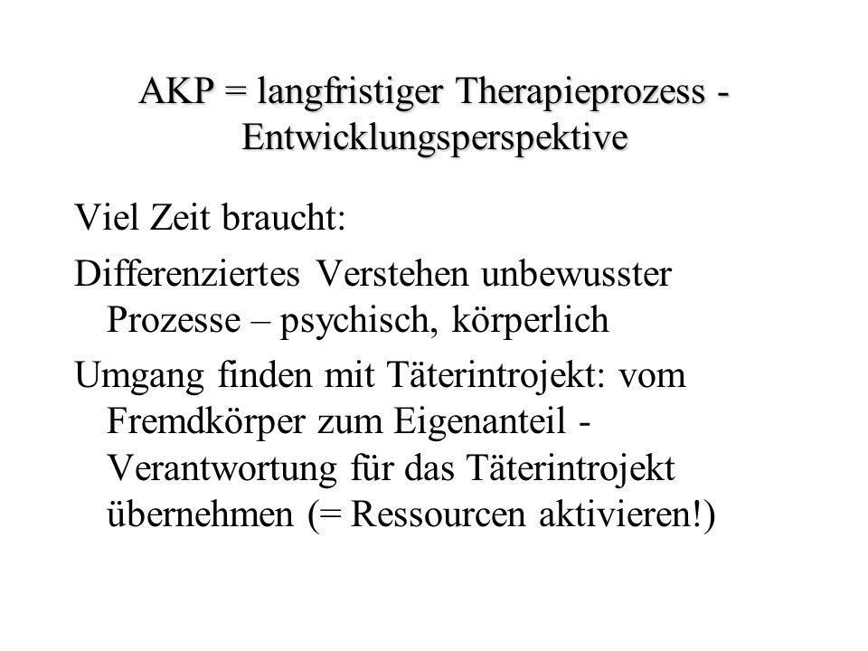 AKP = langfristiger Therapieprozess - Entwicklungsperspektive Viel Zeit braucht: Differenziertes Verstehen unbewusster Prozesse – psychisch, körperlic