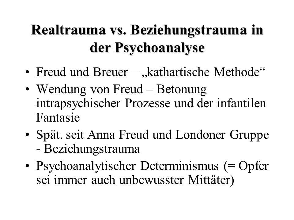 Realtrauma vs. Beziehungstrauma in der Psychoanalyse Freud und Breuer – kathartische Methode Wendung von Freud – Betonung intrapsychischer Prozesse un