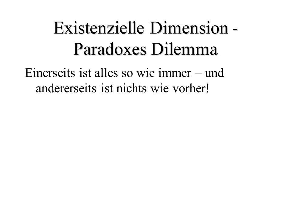 Existenzielle Dimension - Paradoxes Dilemma Einerseits ist alles so wie immer – und andererseits ist nichts wie vorher!