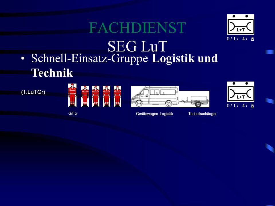 FACHDIENST SEG LuT Schnell-Einsatz-Gruppe Logistik und Technik 0 / 1 / 04 / 05 (1.LuTGr) Gerätewagen LogistikTechnikanhänger GrFü