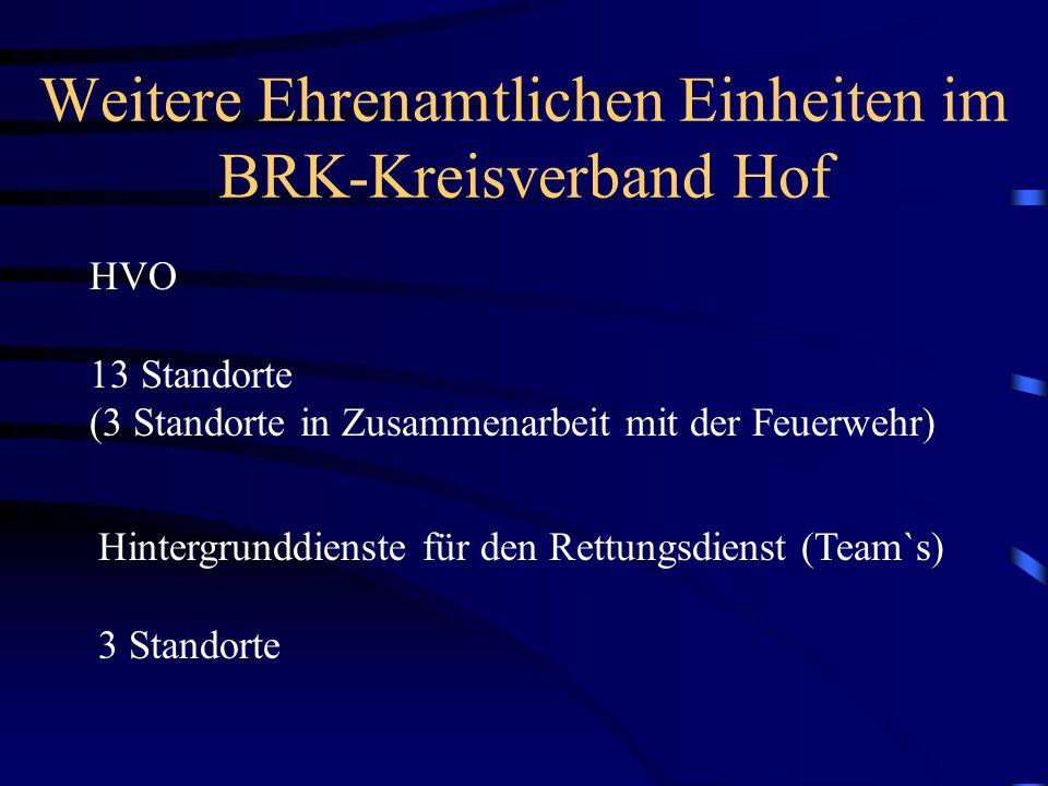 Weitere Ehrenamtlichen Einheiten im BRK-Kreisverband Hof HVO 13 Standorte (3 Standorte in Zusammenarbeit mit der Feuerwehr) Hintergrunddienste für den