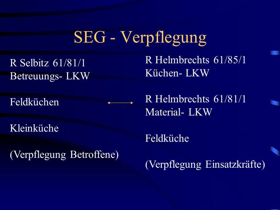 SEG - Verpflegung R Selbitz 61/81/1 Betreuungs- LKW Feldküchen Kleinküche (Verpflegung Betroffene) R Helmbrechts 61/85/1 Küchen- LKW R Helmbrechts 61/