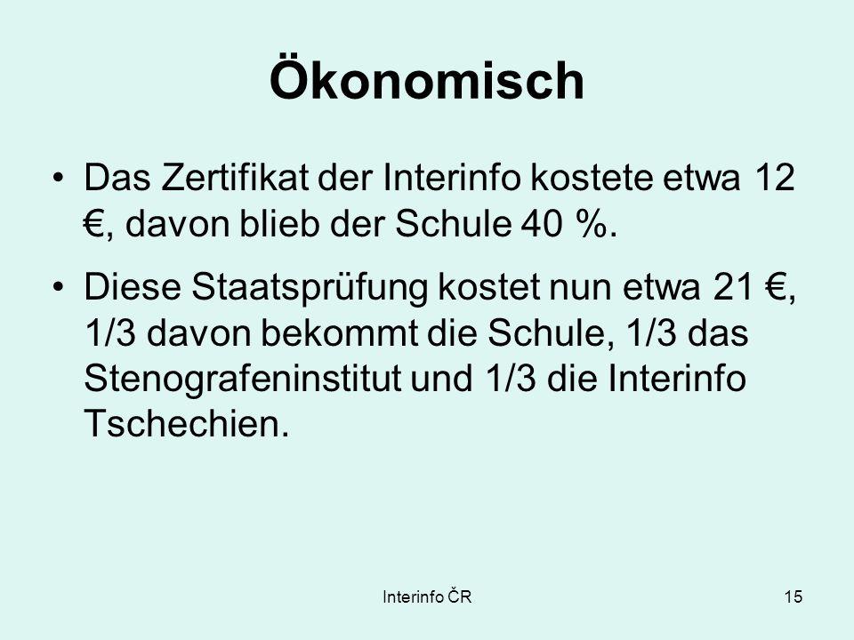 Interinfo ČR15 Ökonomisch Das Zertifikat der Interinfo kostete etwa 12, davon blieb der Schule 40 %.