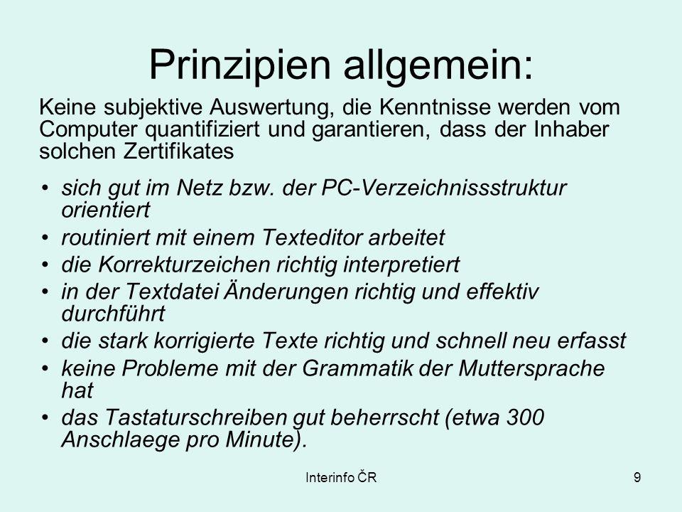 Interinfo ČR9 Prinzipien allgemein: sich gut im Netz bzw.