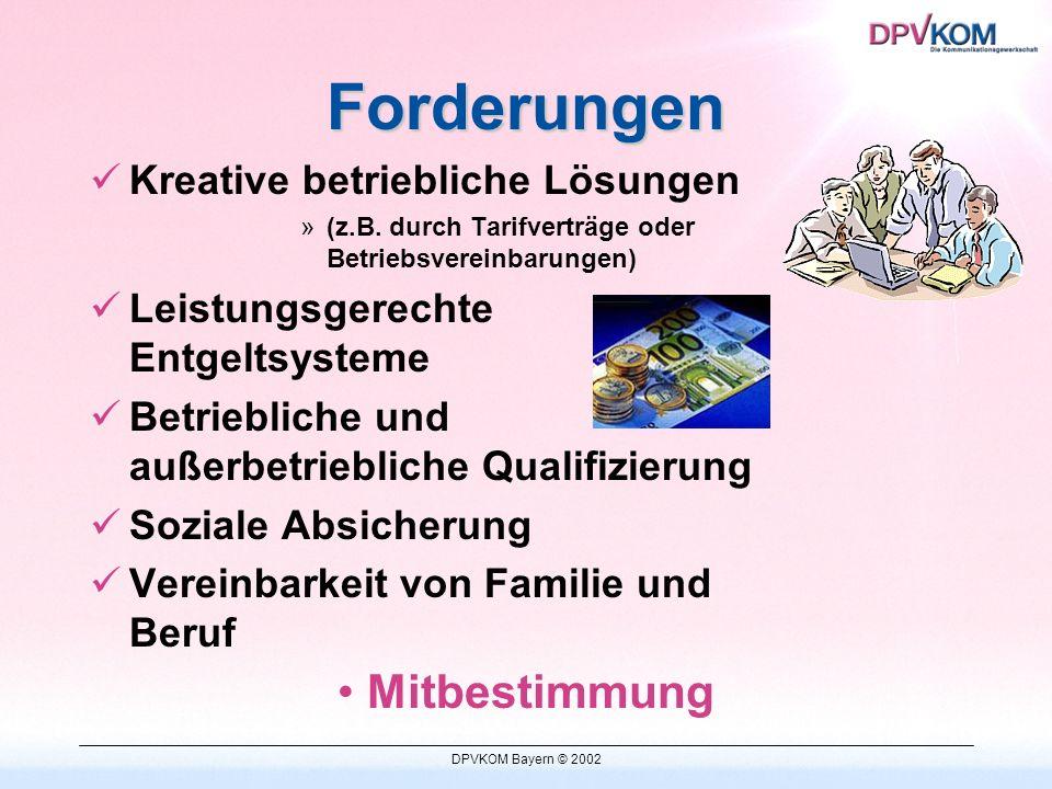 DPVKOM Bayern © 2002 Forderungen Kreative betriebliche Lösungen »(z.B.