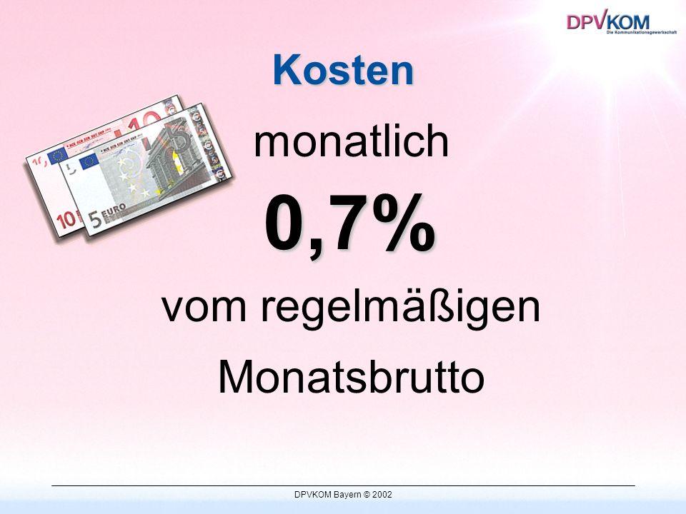 DPVKOM Bayern © 2002 Leistungen b)zusätzlichen Leistungen 1.DPVKOM Versorgungswerk (Versicherungen, Bausparen) 2.Lohnsteuerhilfe 3.VISA-Card 4.Automobilclub (ARCD) 5.Preiswerter Einkauf (z.B.