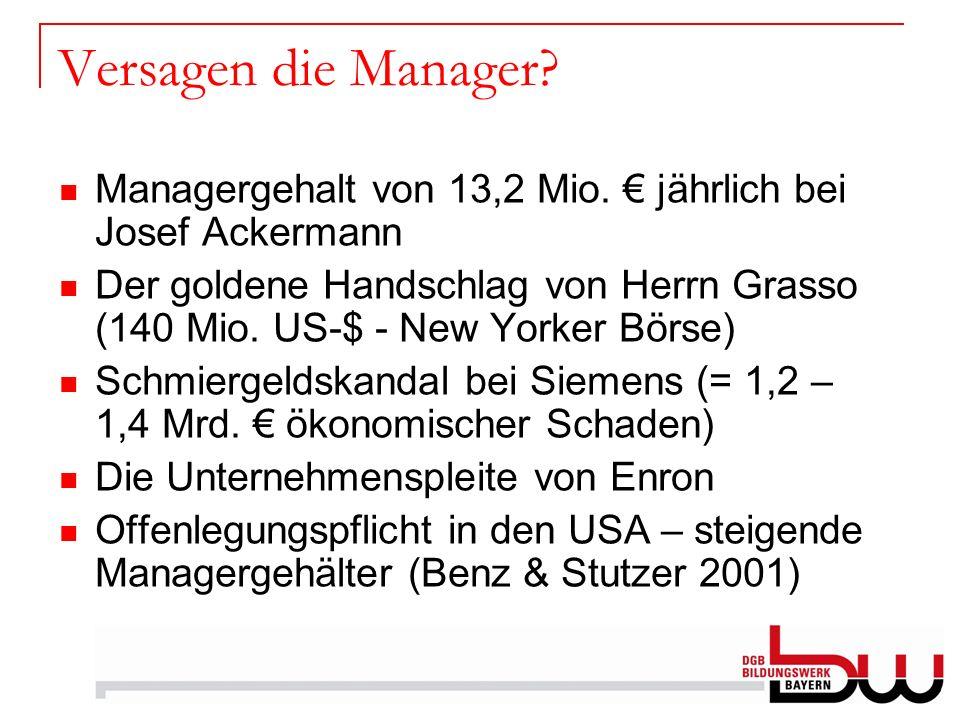Versagen die Manager? Managergehalt von 13,2 Mio. jährlich bei Josef Ackermann Der goldene Handschlag von Herrn Grasso (140 Mio. US-$ - New Yorker Bör