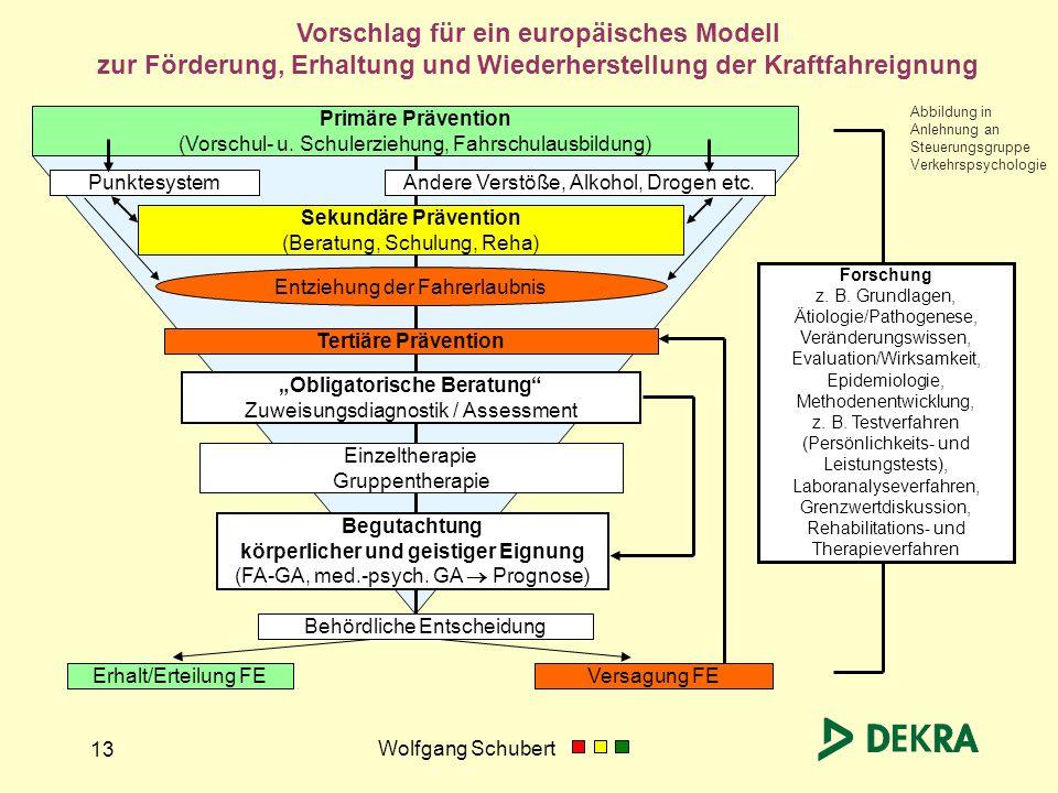 Wolfgang Schubert 13 Forschung z. B. Grundlagen, Ätiologie/Pathogenese, Veränderungswissen, Evaluation/Wirksamkeit, Epidemiologie, Methodenentwicklung
