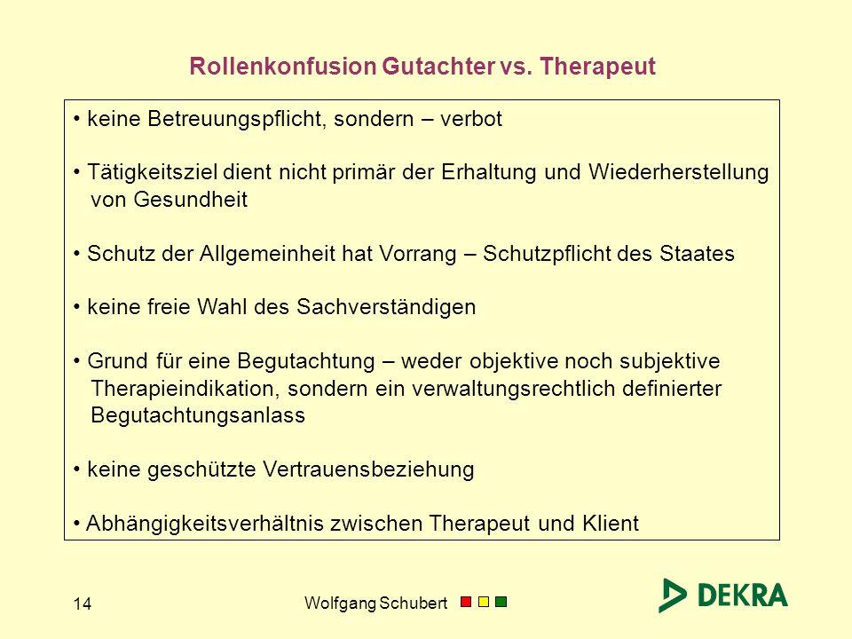 Wolfgang Schubert 14 Rollenkonfusion Gutachter vs. Therapeut keine Betreuungspflicht, sondern – verbot Tätigkeitsziel dient nicht primär der Erhaltung