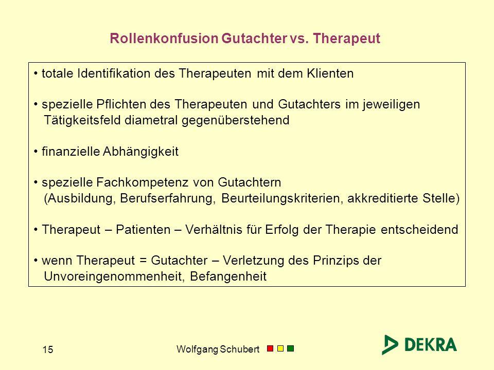Wolfgang Schubert 15 totale Identifikation des Therapeuten mit dem Klienten spezielle Pflichten des Therapeuten und Gutachters im jeweiligen Tätigkeit