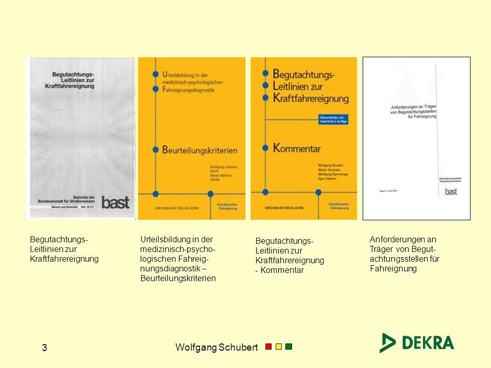 Wolfgang Schubert 4 Definition: Anerkannte Regeln der Begutachtung zur Kraftfahrereignung sind verkehrsmedizinische, verkehrspsychologische und technische Grundsätze, die nach wissenschaftlichen Erkenntnissen als theoretisch richtig gelten, die sich in der Praxis über längere Zeit bewährt haben und von einschlägigen Fachkreisen allgemein anerkannt sind.