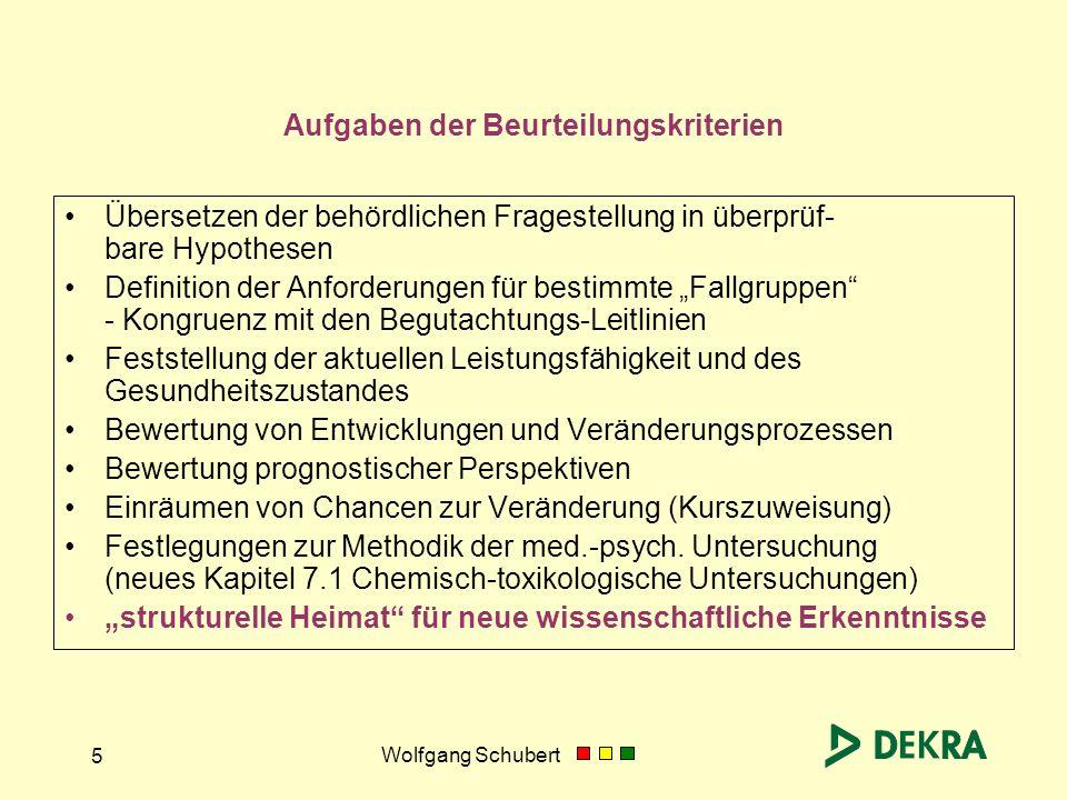 Wolfgang Schubert 5 Aufgaben der Beurteilungskriterien Übersetzen der behördlichen Fragestellung in überprüf- bare Hypothesen Definition der Anforderu