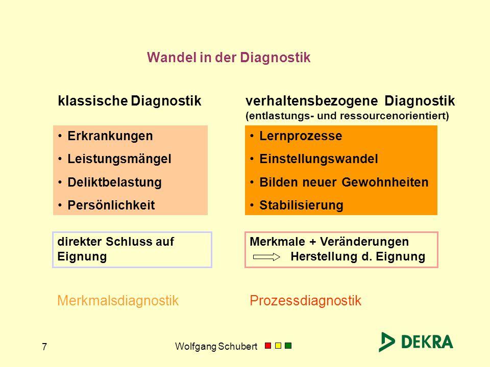 Wolfgang Schubert 7 Wandel in der Diagnostik Erkrankungen Leistungsmängel Deliktbelastung Persönlichkeit klassische Diagnostik Merkmalsdiagnostik Lern