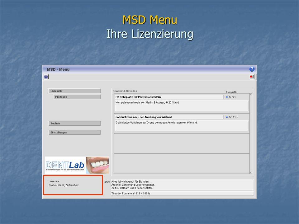 MSD Menu Ihre Lizenzierung