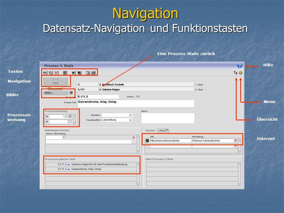 Navigation Datensatz-Navigation und Funktionstasten Hilfe Übersicht Menu Eine Prozess-Stufe zurück Internet Tasten Navigation Bilder Prozessan- weisung