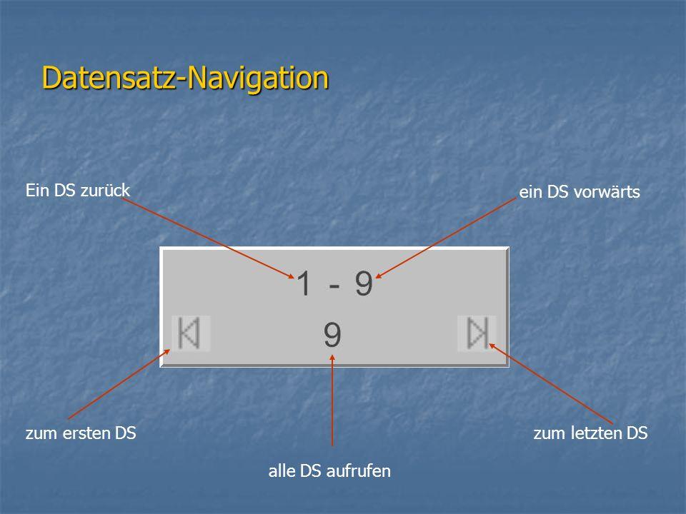 Datensatz-Navigation alle DS aufrufen ein DS vorwärts Ein DS zurück zum ersten DSzum letzten DS