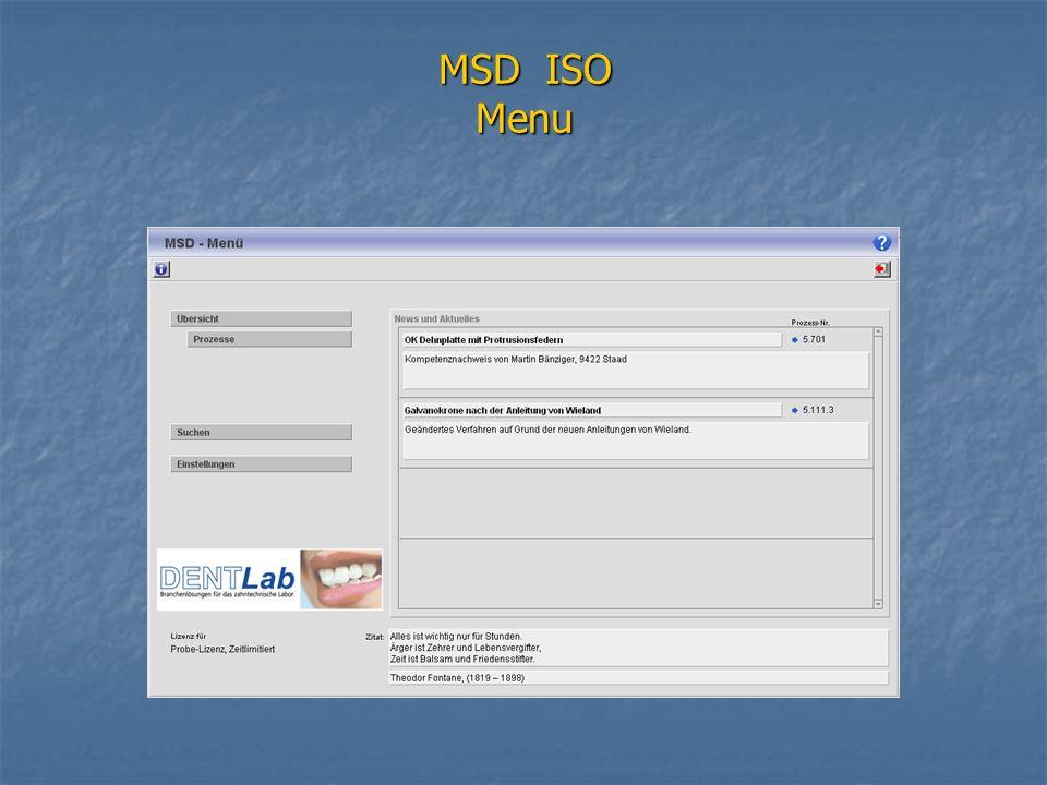 MSD ISO Menu
