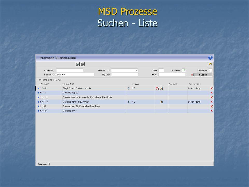 MSD Prozesse Suchen - Liste