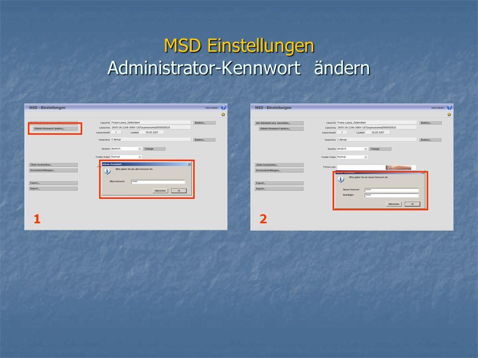 MSD Einstellungen Administrator-Kennwort ändern 12