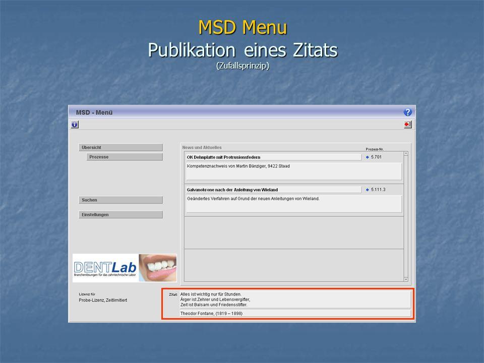 MSD Menu Publikation eines Zitats (Zufallsprinzip)