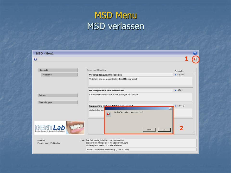 MSD Menu MSD verlassen 2 1