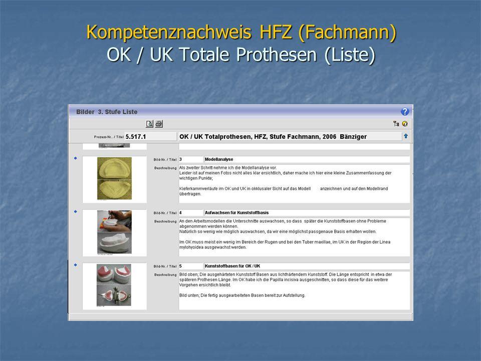 Kompetenznachweis HFZ (Fachmann) OK / UK Totale Prothesen (Liste)