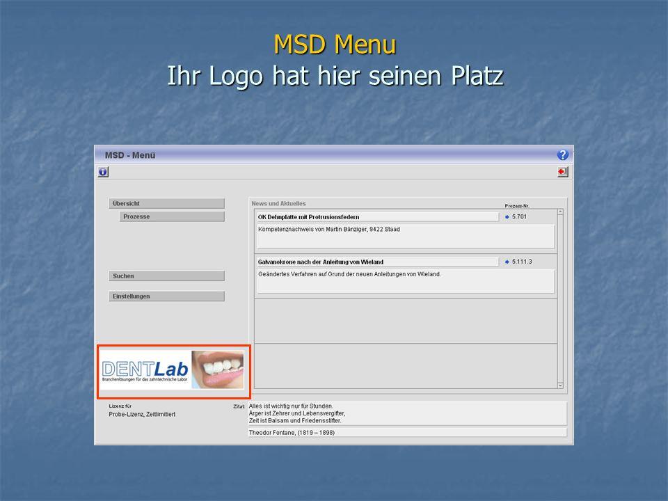 MSD Menu Ihr Logo hat hier seinen Platz