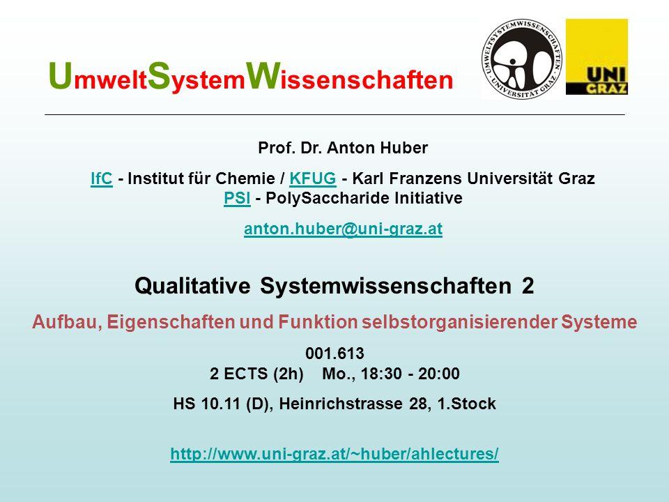 U mwelt S ystem W issenschaften Qualitative Systemwissenschaften 2 Aufbau, Eigenschaften und Funktion selbstorganisierender Systeme 001.613 2 ECTS (2h