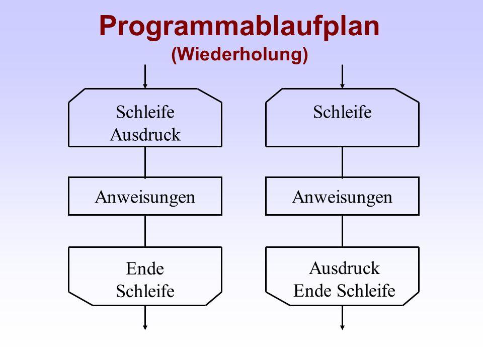 Programmablaufplan (Wiederholung) Anweisungen Schleife Ausdruck Ende Schleife Anweisungen Schleife Ausdruck Ende Schleife