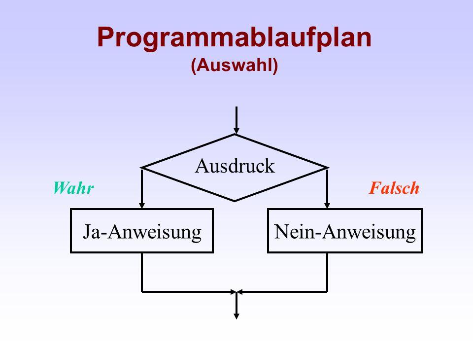 Programmablaufplan (Auswahl) Ausdruck Ja-AnweisungNein-Anweisung WahrFalsch