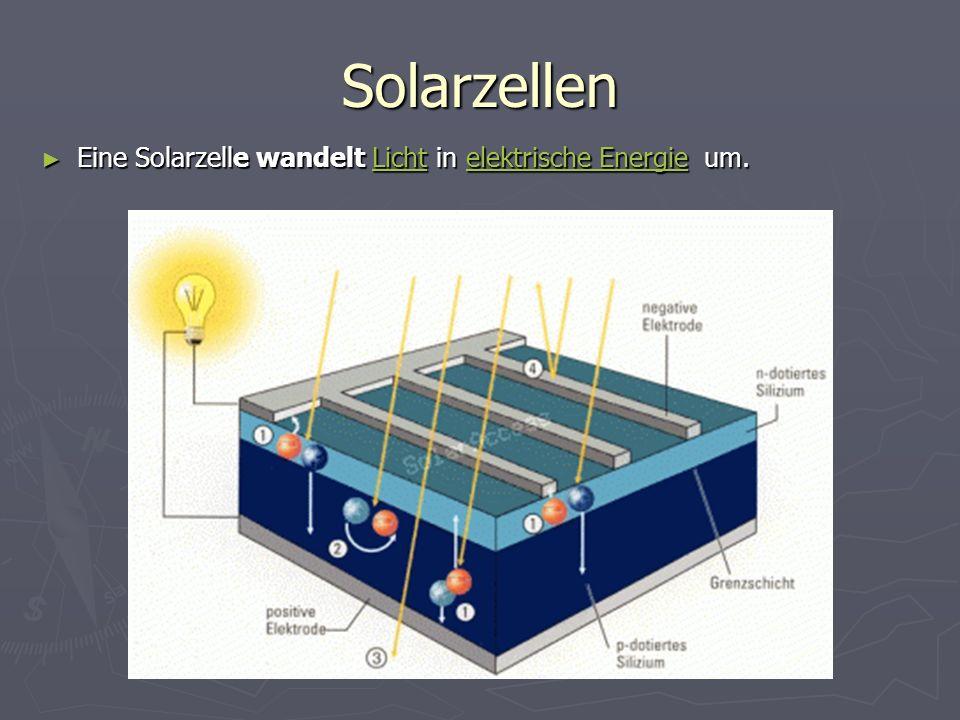Solarzellen Eine Solarzelle wandelt Licht in elektrische Energie um. Eine Solarzelle wandelt Licht in elektrische Energie um.Lichtelektrische EnergieL
