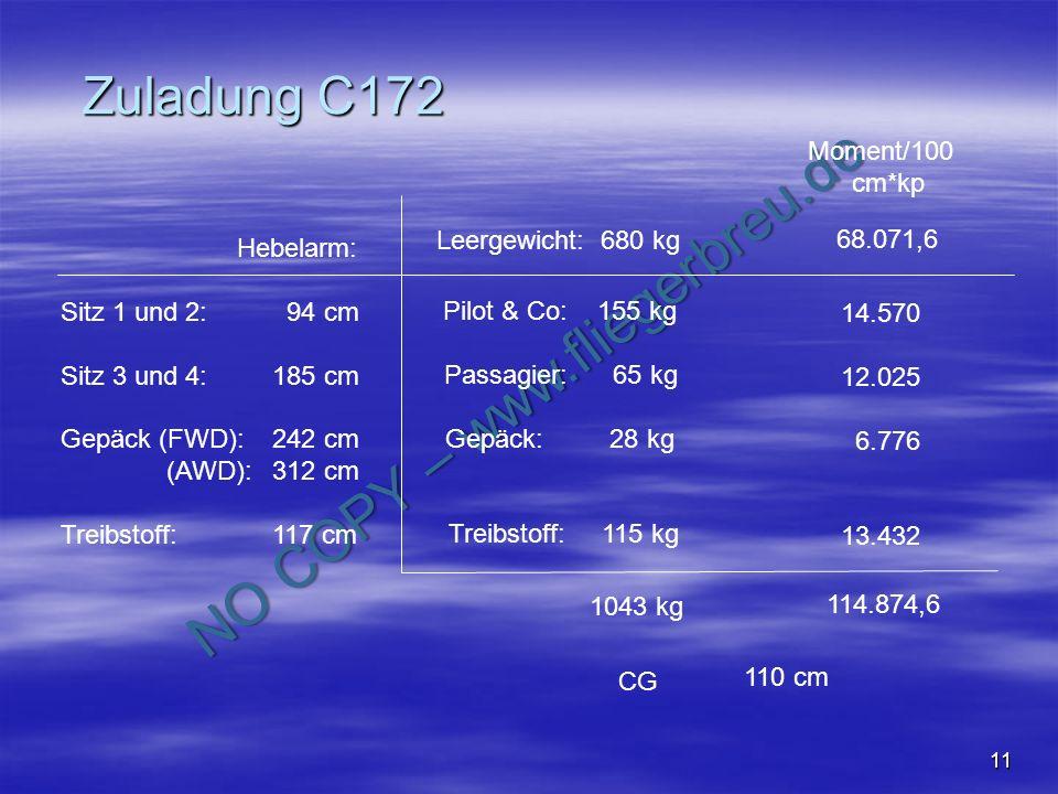 NO COPY – www.fliegerbreu.de 11 Zuladung C172 Hebelarm: Sitz 1 und 2: 94 cm Sitz 3 und 4:185 cm Gepäck (FWD):242 cm (AWD):312 cm Treibstoff:117 cm Lee