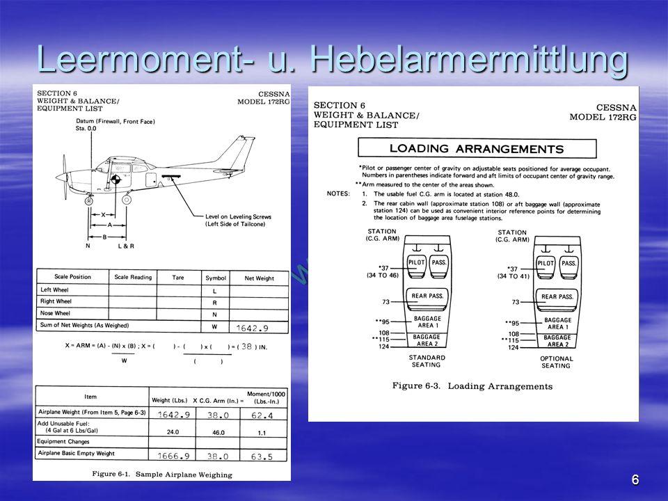 NO COPY – www.fliegerbreu.de 6 Leermoment- u. Hebelarmermittlung