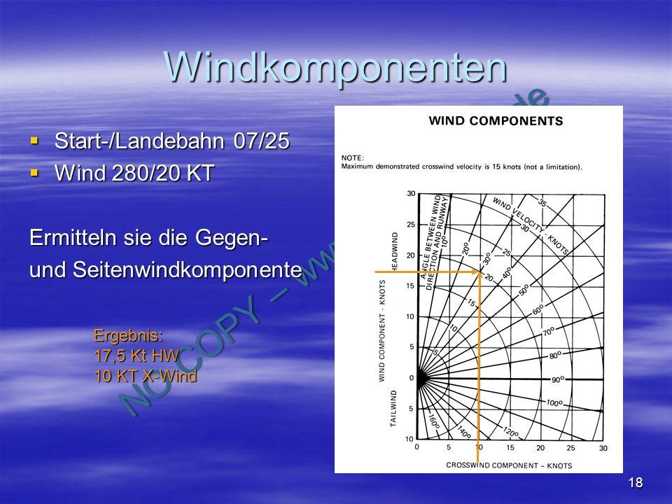 NO COPY – www.fliegerbreu.de 18 Windkomponenten Start-/Landebahn 07/25 Start-/Landebahn 07/25 Wind 280/20 KT Wind 280/20 KT Ermitteln sie die Gegen- u