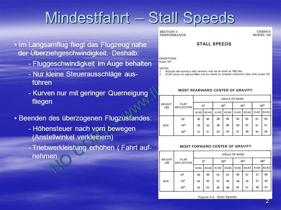 NO COPY – www.fliegerbreu.de 2 Mindestfahrt – Stall Speeds Im Langsamflug fliegt das Flugzeug nahe der Überziehgeschwindigkeit. Deshalb: - Fluggeschwi