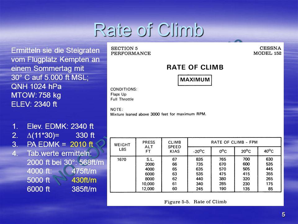 NO COPY – www.fliegerbreu.de 6 Rate of Climb Planen sie für einen Steigflug für eine Umrundung der Zugspitze: Wetter: QNH EDMJ: 1008 hPa, Wind calm, SC in 12.000 ft Temp: Standard + 10°C Ermitteln sie die: Time to climb: Fuel to climb in Liter: Distanz TAS Ist das Flugvorhaben safe?