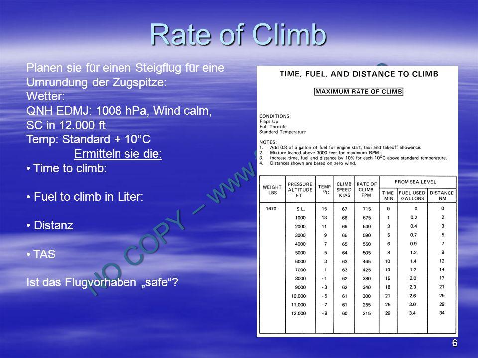 NO COPY – www.fliegerbreu.de 7 Rate of Climb Planen sie für einen Steigflug für eine Umrundung der Zugspitze: Wetter: QNH EDMJ: 1008 hPa, Wind calm, SC in 12.000 ft Temp: Standard + 10°C Time to climb: 25 -3 = 22 Min.