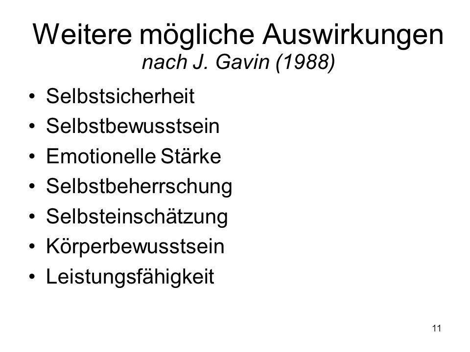 11 Weitere mögliche Auswirkungen nach J. Gavin (1988) Selbstsicherheit Selbstbewusstsein Emotionelle Stärke Selbstbeherrschung Selbsteinschätzung Körp