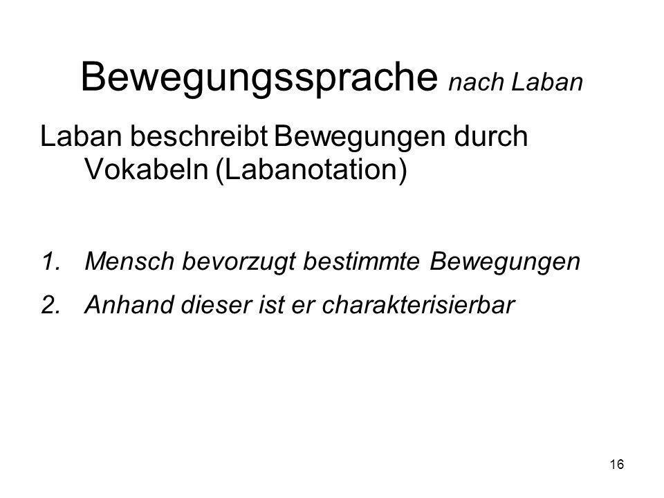 16 Bewegungssprache nach Laban Laban beschreibt Bewegungen durch Vokabeln (Labanotation) 1.Mensch bevorzugt bestimmte Bewegungen 2.Anhand dieser ist e