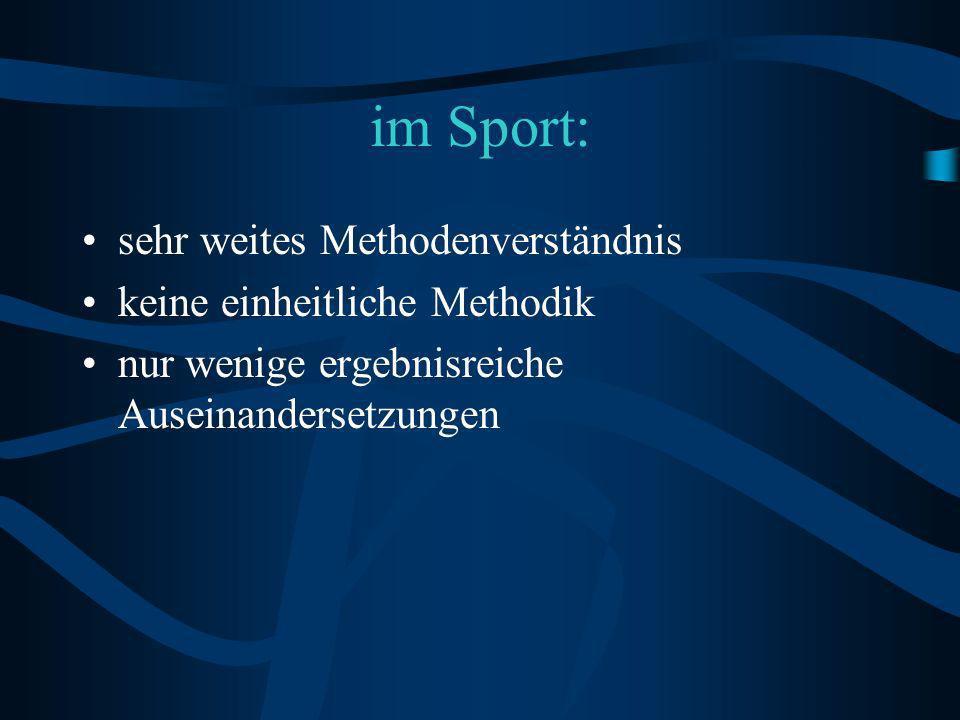 im Sport: sehr weites Methodenverständnis keine einheitliche Methodik nur wenige ergebnisreiche Auseinandersetzungen
