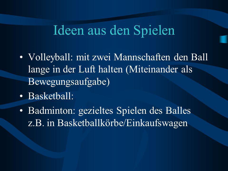 Ideen aus den Spielen Volleyball: mit zwei Mannschaften den Ball lange in der Luft halten (Miteinander als Bewegungsaufgabe) Basketball: Badminton: gezieltes Spielen des Balles z.B.