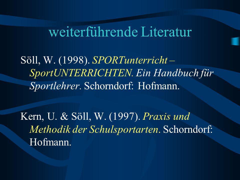 weiterführende Literatur Söll, W.(1998). SPORTunterricht – SportUNTERRICHTEN.