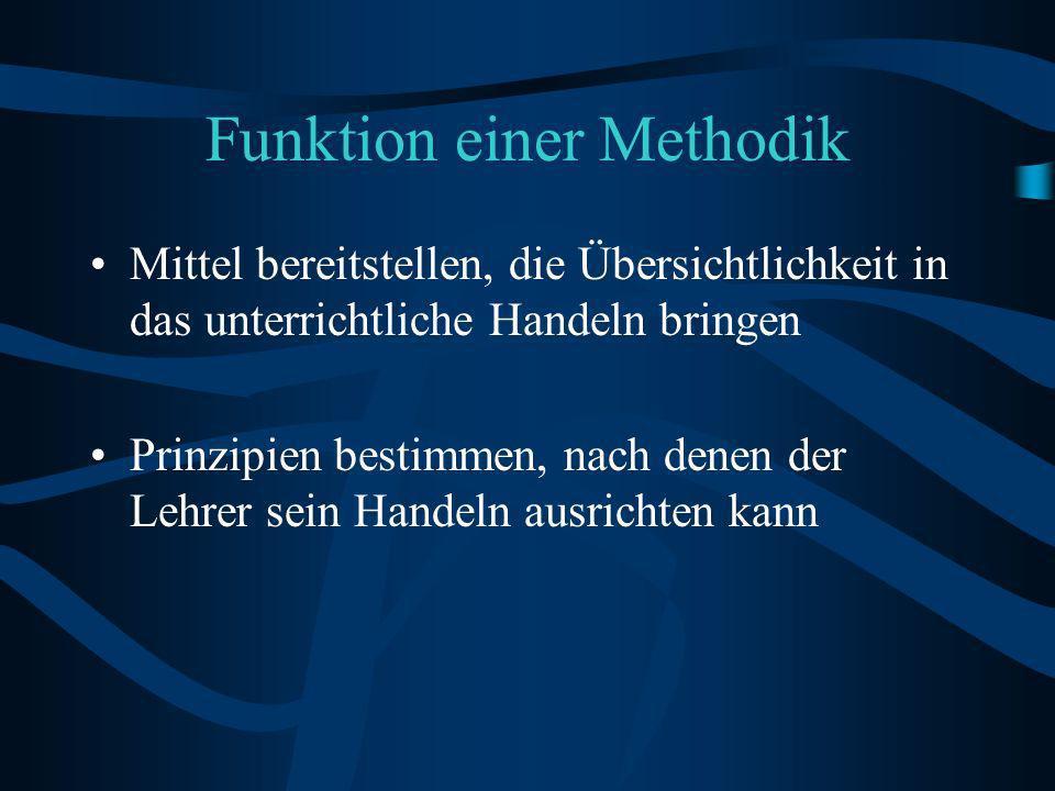 Funktion einer Methodik Mittel bereitstellen, die Übersichtlichkeit in das unterrichtliche Handeln bringen Prinzipien bestimmen, nach denen der Lehrer sein Handeln ausrichten kann