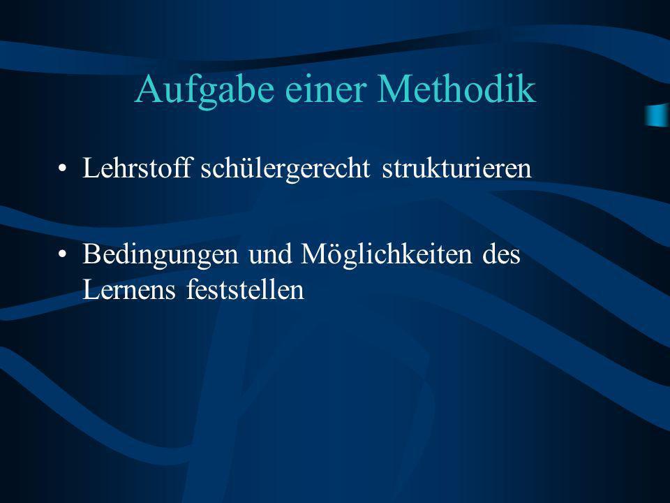 Aufgabe einer Methodik Lehrstoff schülergerecht strukturieren Bedingungen und Möglichkeiten des Lernens feststellen