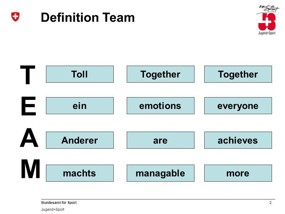 2 Bundesamt für Sport Jugend+Sport Definition Team TEAMTEAM TollTogether einemotions Andererare machtsmanagable Together everyone achieves more