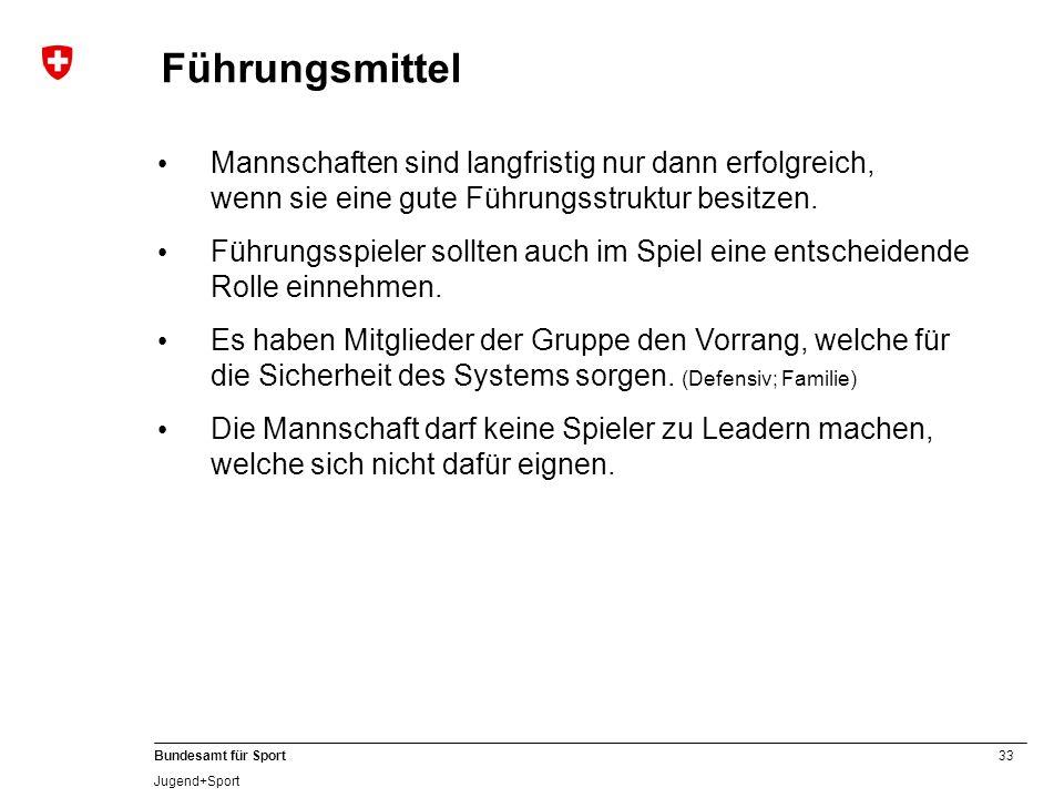 33 Bundesamt für Sport Jugend+Sport Führungsmittel Mannschaften sind langfristig nur dann erfolgreich, wenn sie eine gute Führungsstruktur besitzen. F