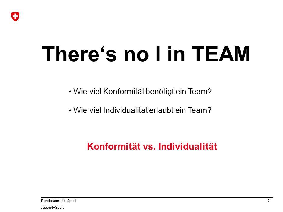 7 Bundesamt für Sport Jugend+Sport Konformität vs. Individualität Theres no I in TEAM Wie viel Konformität benötigt ein Team? Wie viel Individualität